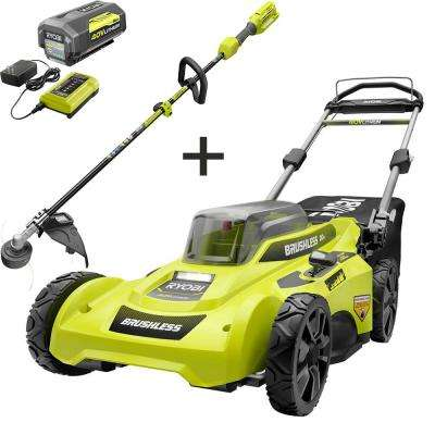 20 in. 40-Volt Lithium-Ion Brushless Cordless Battery Walk Behind Push Lawn Mower & Trimmer w/ 6.0 Ah Battery & Charger
