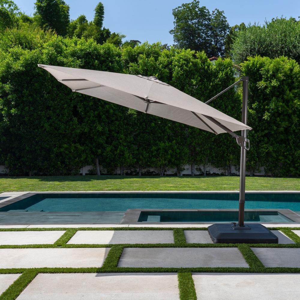 10 ft. x 10 ft. Commercial Aluminum Square Offset Cantilever Outdoor Patio Umbrella in Sunbrella Cast Shale