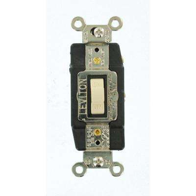 20 Amp Industrial Grade Heavy Duty Single-Pole Double-Throw Center-Off Momentary Contact Toggle Switch, Ivory
