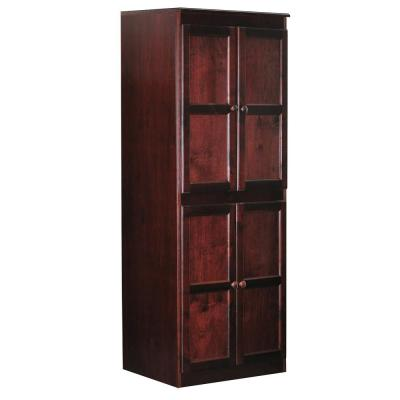 72 in. Cherry Wood 5-shelf Standard Bookcase with Adjustable Shelves