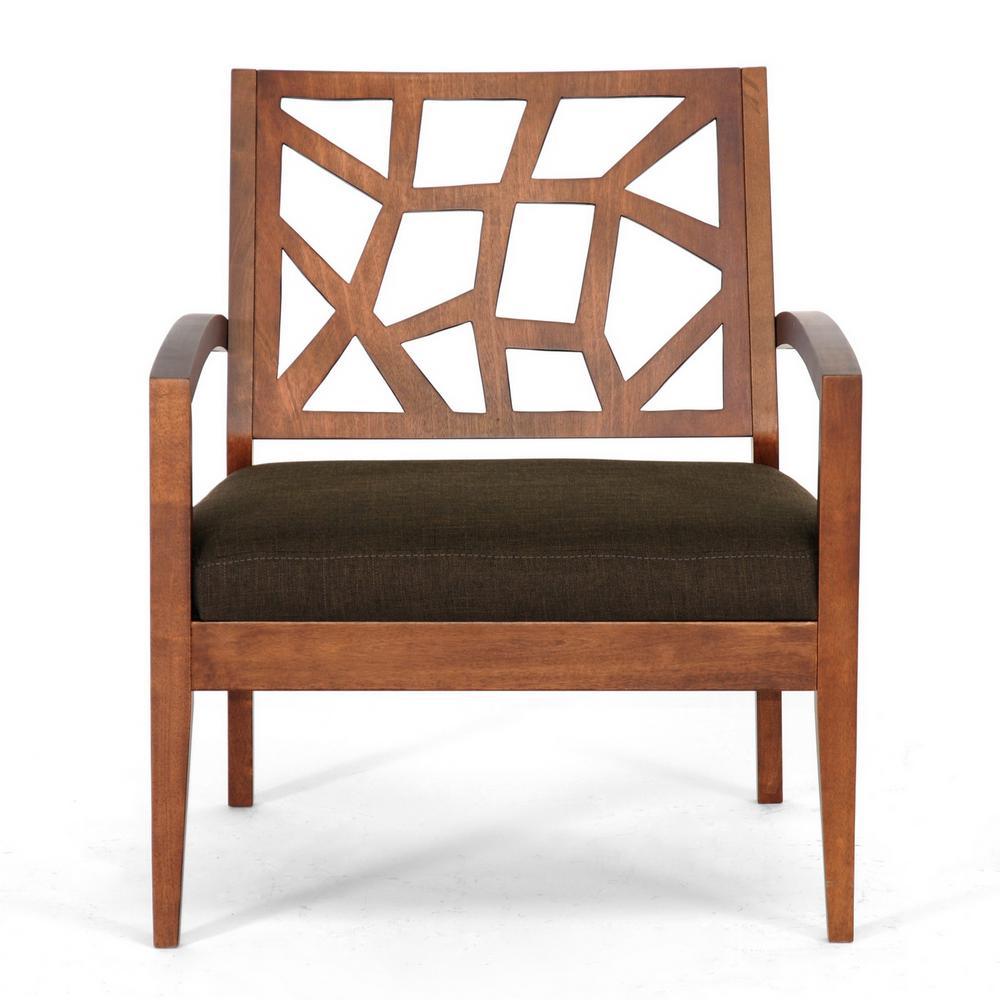 Baxton Studio Jennifer Brown Fabric Upholstered Lounge Chair 28862-3551-HD