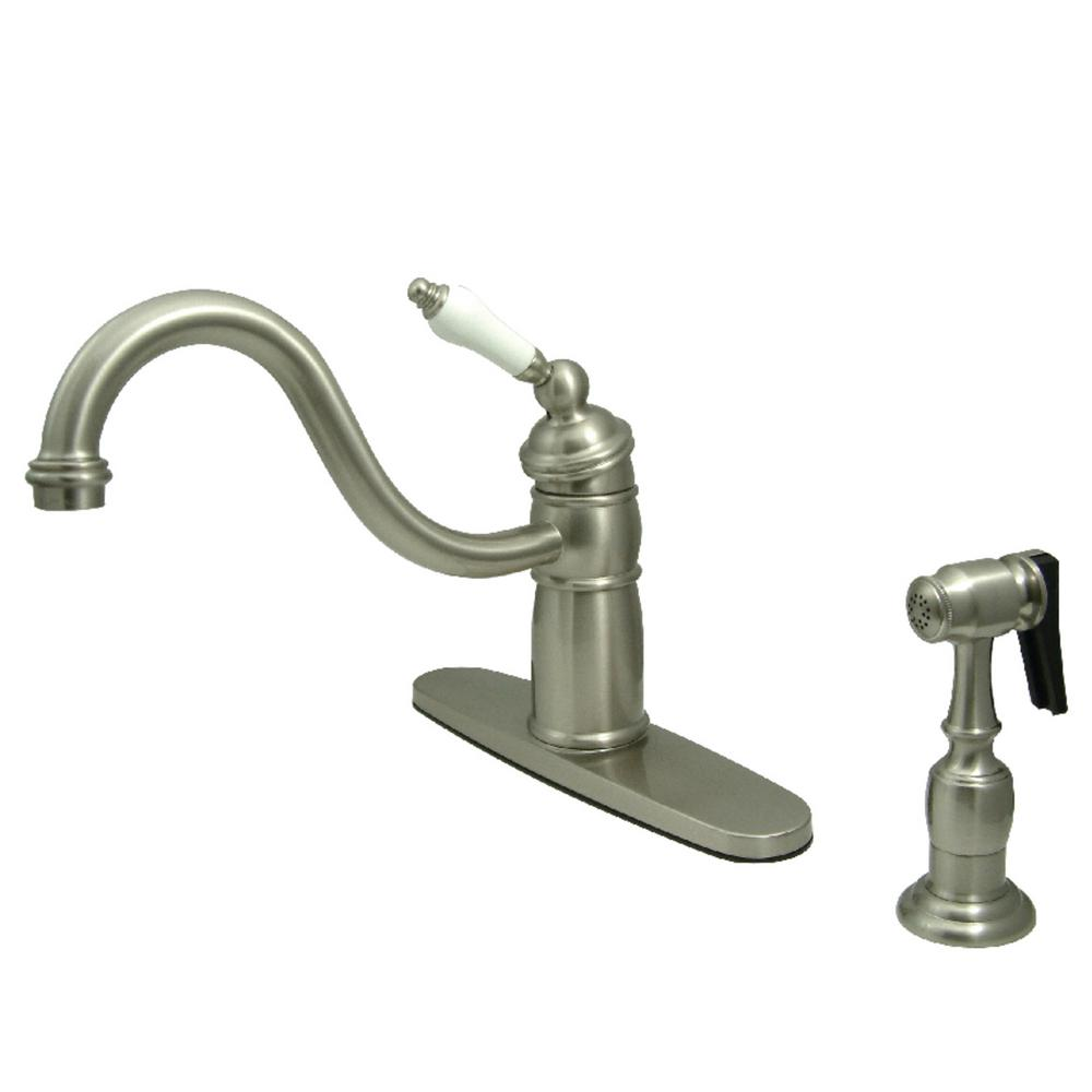 Kingston Brass Victorian Single-Handle Standard Kitchen Faucet with Side Sprayer in Brushed Nickel