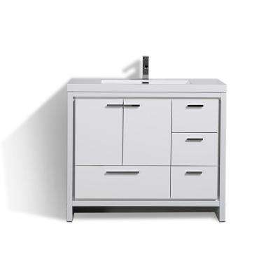 Dolce 42 in. W Bath Vanity in High Gloss White w/ Reinforced Acrylic Top in White w/ White Basin & Right Side Drawers