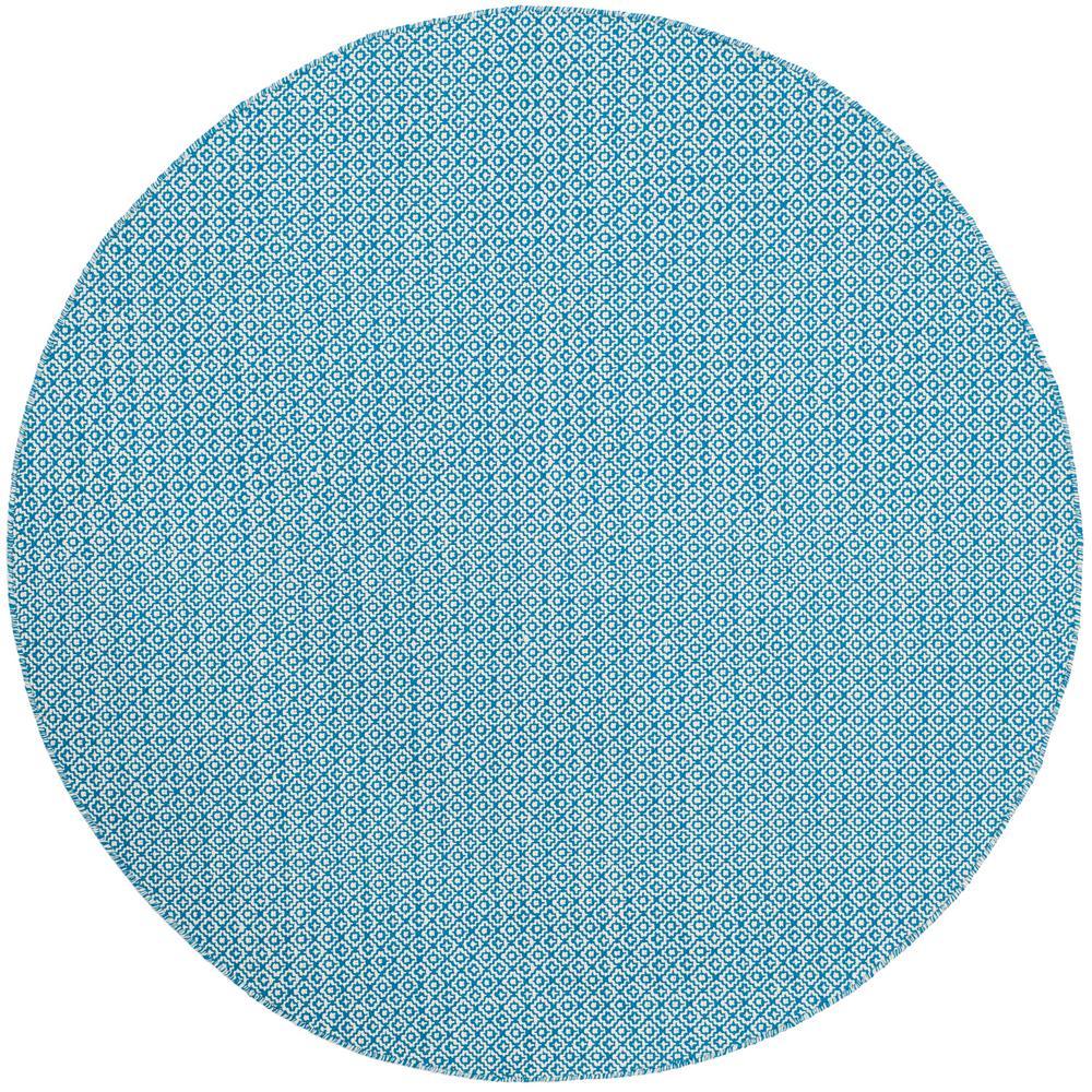 Montauk Ivory/Blue 6 ft. x 6 ft. Round Area Rug