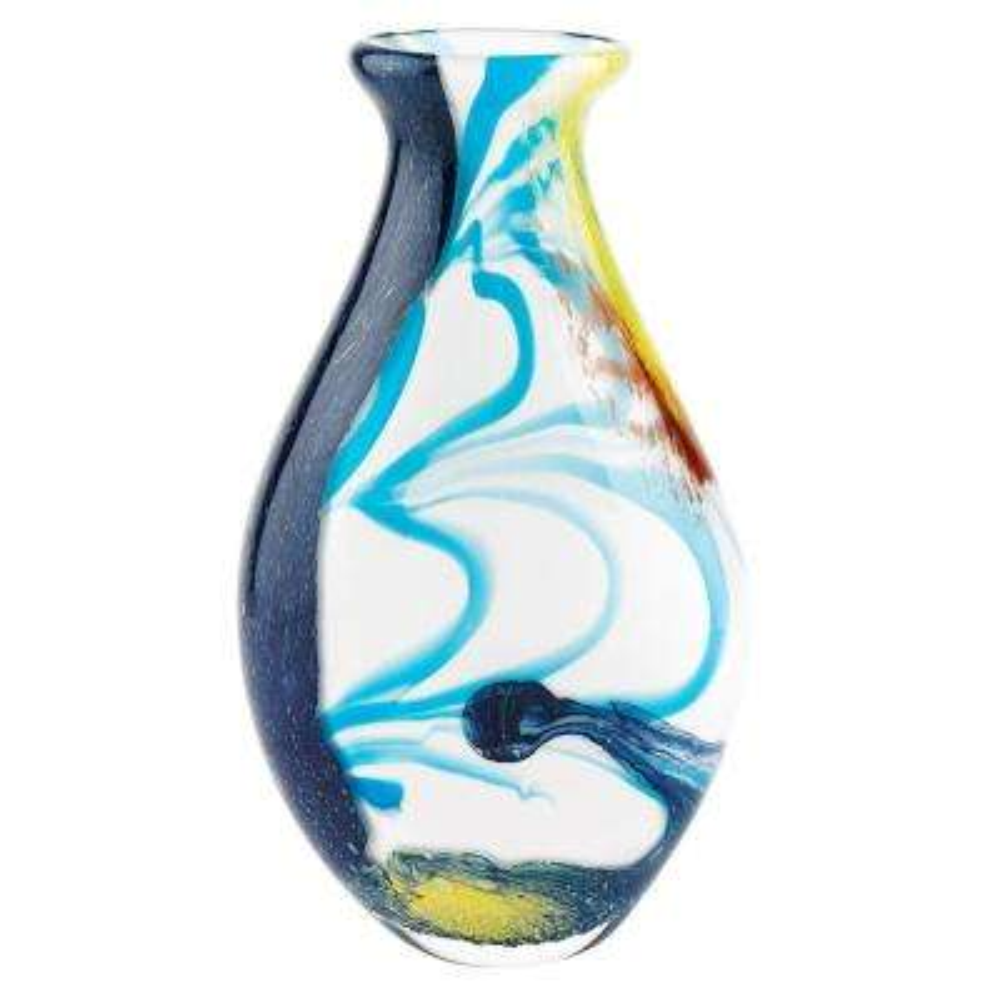 14 in. Multicolor Blue Sky Murano Style Art Glass Vase