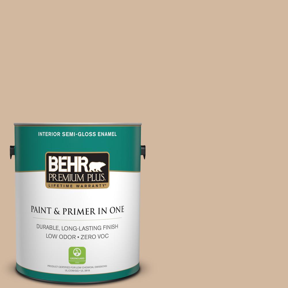 BEHR Premium Plus 1-gal. #S280-3 Practical Tan Semi-Gloss Enamel Interior Paint