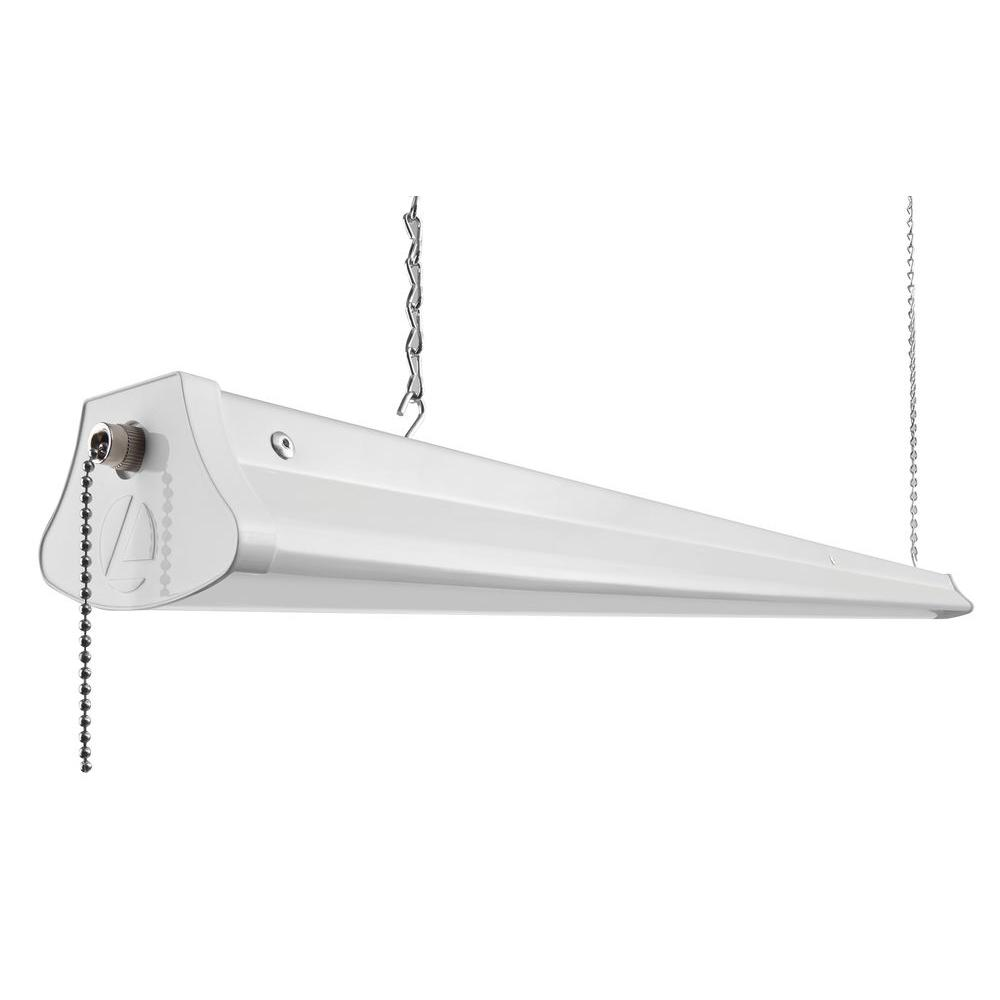 Led Or Fluorescent Shop Light: Lithonia Lighting 25-Watt White LED Chain-Mount Shoplight