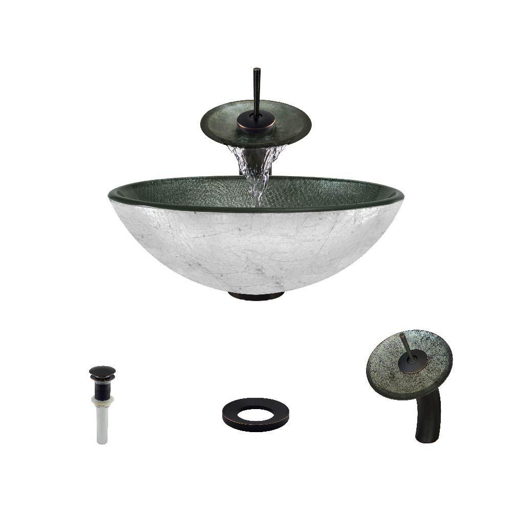 MR Direct Glass Vessel Sink in Silver Mesh with Waterfall Faucet ...