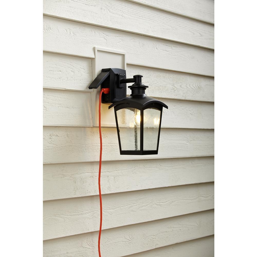 Lantern Sconce With Gfci Black Md