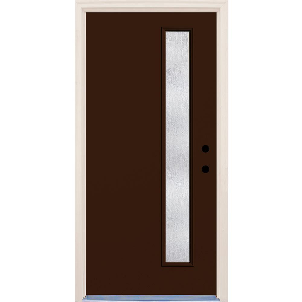 36 in. x 80 in. Left-Hand Earthen 1 Lite Rain Glass Painted Fiberglass Prehung Front Door with Brickmould