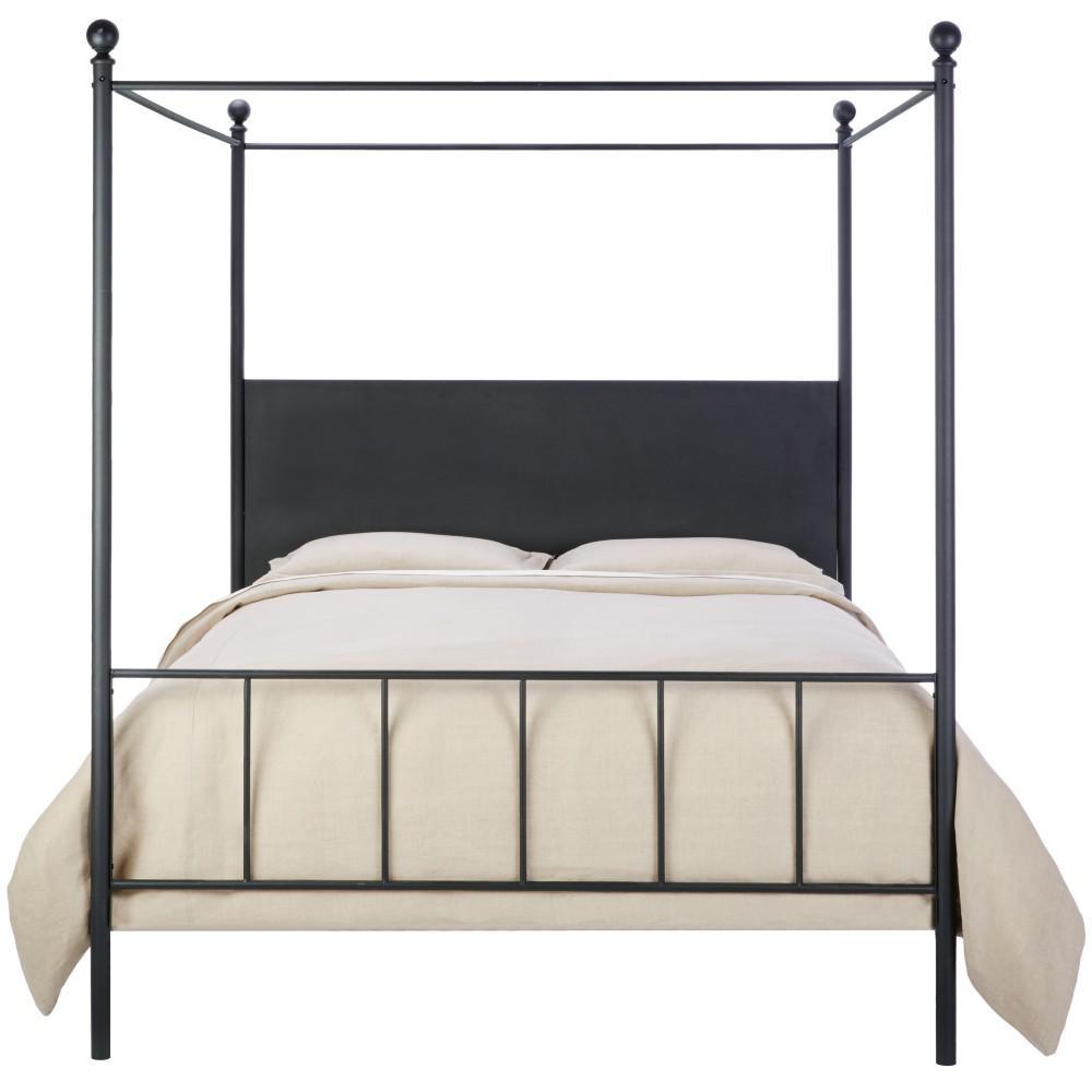 Cove Matte Black Queen Canopy Bed
