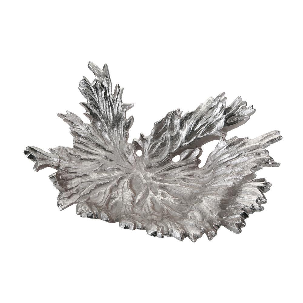 5 In. X 15 In. X 11 In. Nickel Star Leaf Decorative Bowl, Metallics