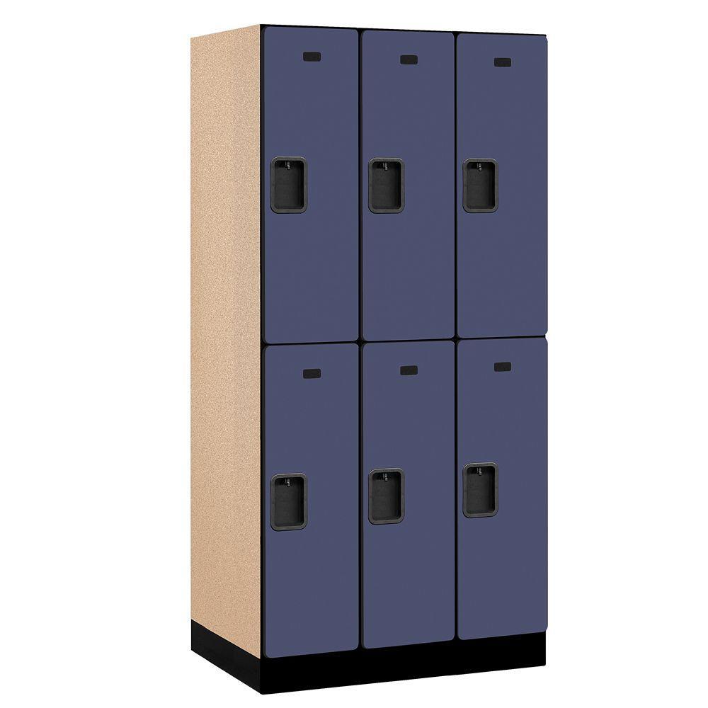 Salsbury Industries 32000 Series 36 in. W x 76 in. H x 21 in. D 2-Tier Designer Wood Locker in Blue
