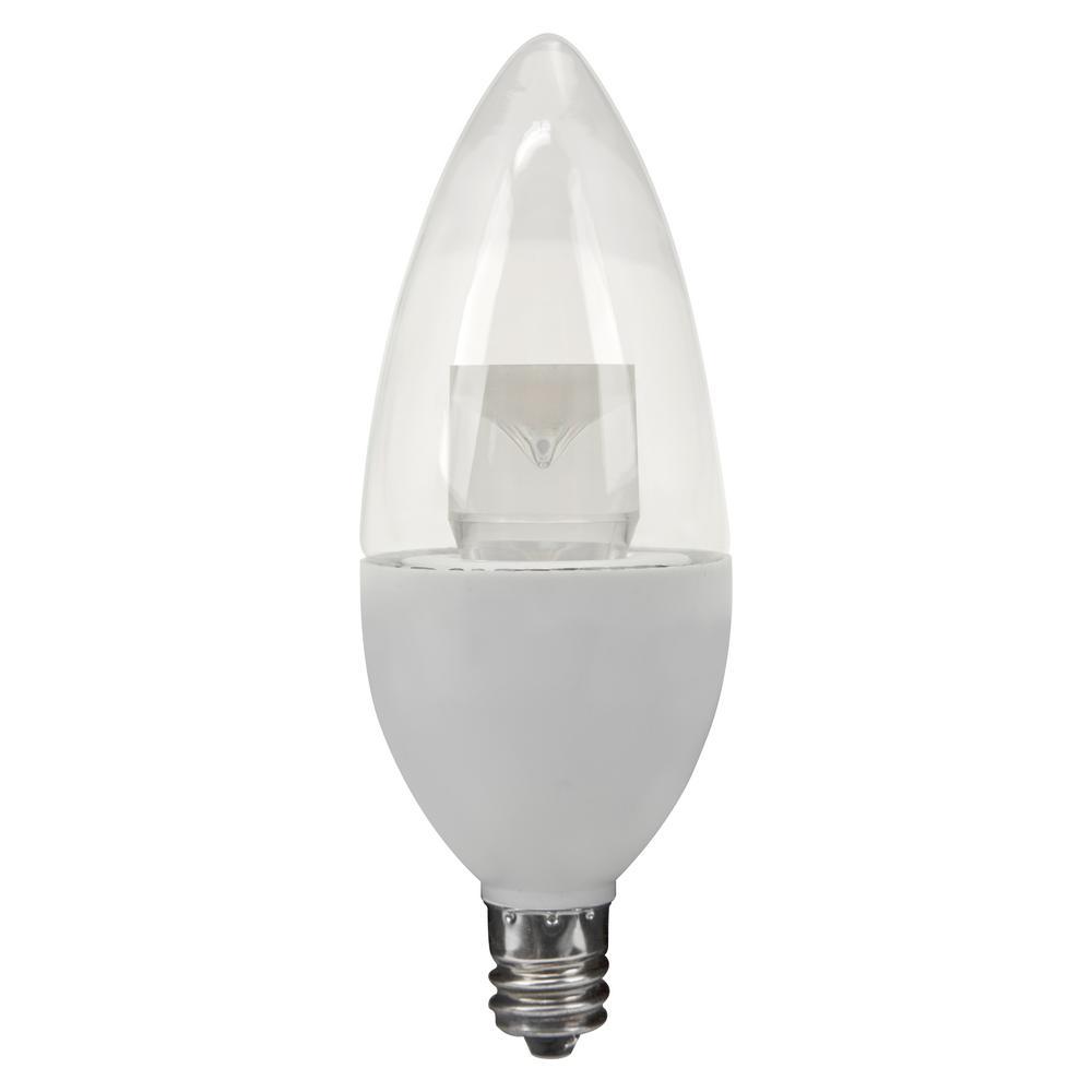 TCP 25W Equivalent Soft White (2700K) Blunt Tip Candelabra Deco LED Light Bulb (2-Pack)