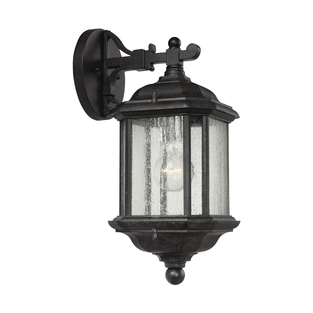 Kent medium 1 light oxford bronze outdoor 15 in wall mount lantern with clear seeded glass