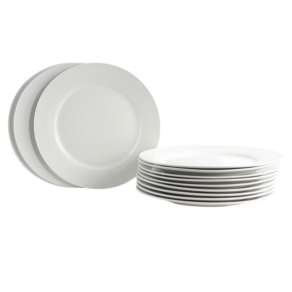 Noble Court White Dinner Plate (Set of 12)