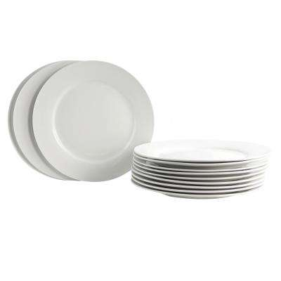 Noble Court White Dinner Plate (Set of 12)