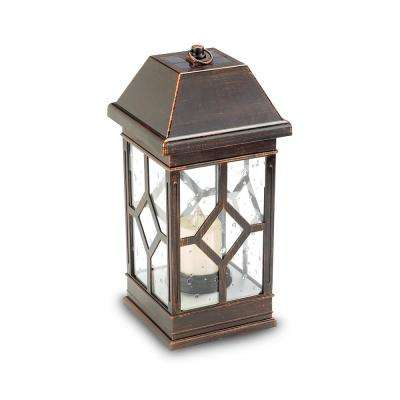 San Felipe II 15 in. 2-Light Bronze Integrated LED Solar Candle Lantern