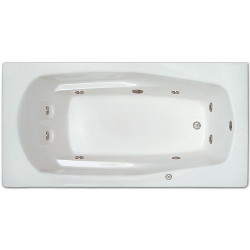 5.5 ft. Right Drain Drop-in Rectangular Whirlpool Bathtub in White