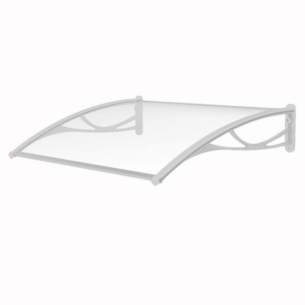 Solid Polycarbonate Sheet Door Awning (55 in. W x 31 in. D) in White Bracket