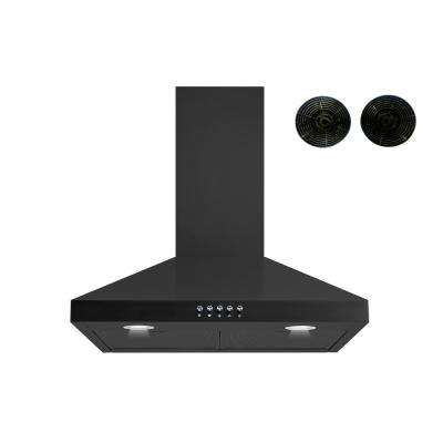 30 in. Convertible Wall Mount Range Hood in Black with Aluminum Filters Push Buttons and Carbon Filters