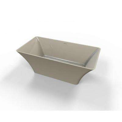 Hyde 5.6 ft. Solid Surface Flat Bottom Freestanding Air Bath Bathtub in Almond