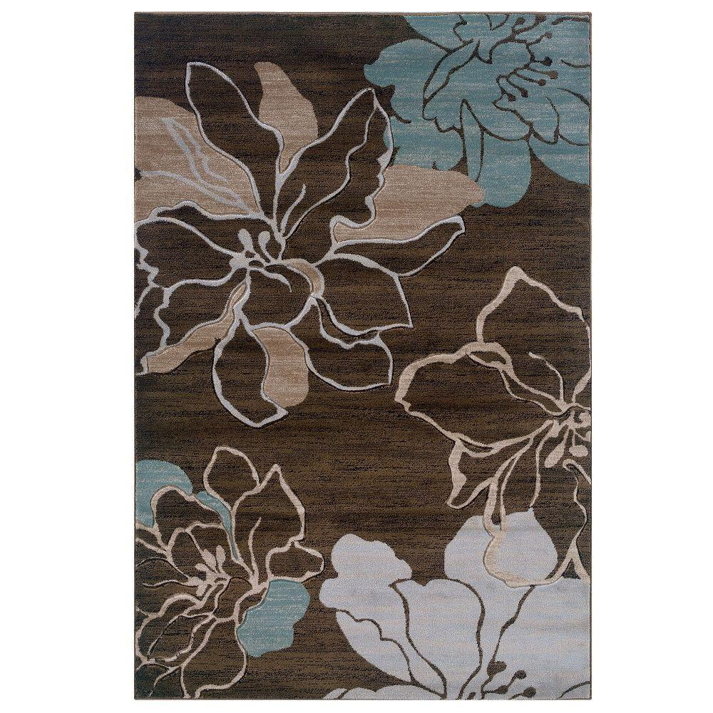 Linon Home Decor Milan Collection Brown And Turquoise 8 Ft X 10 Ft Indoor Area Rug