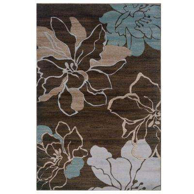 Milan Collection Brown and Turquoise 8 ft. x 10 ft. 3 in. Indoor Area Rug