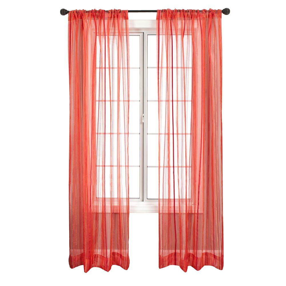 Home Decorators Collection Sheer Hot Red Allegra Rod Pocket Panel - 50 in.W x 84 in. L