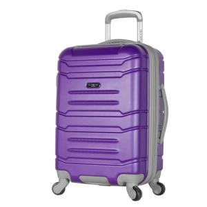 Denmark 21 in. Purple Expandable Carry-On Spinner with Hidden Compartment