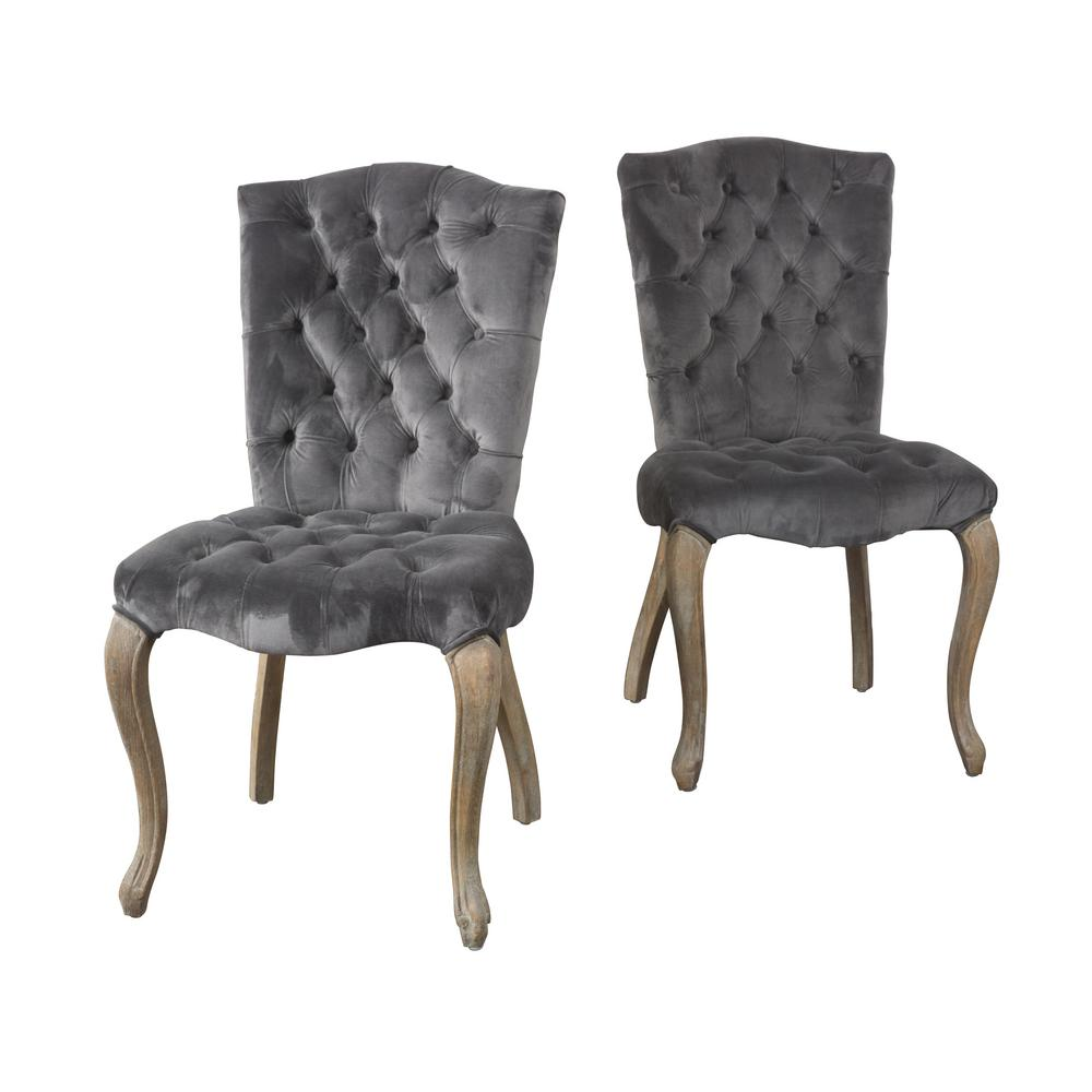 Noble House Moira Charcoal New Velvet Tufted Dining Chairs Set Of 2