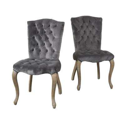 Moira Charcoal New Velvet Tufted Dining Chairs (Set of 2)