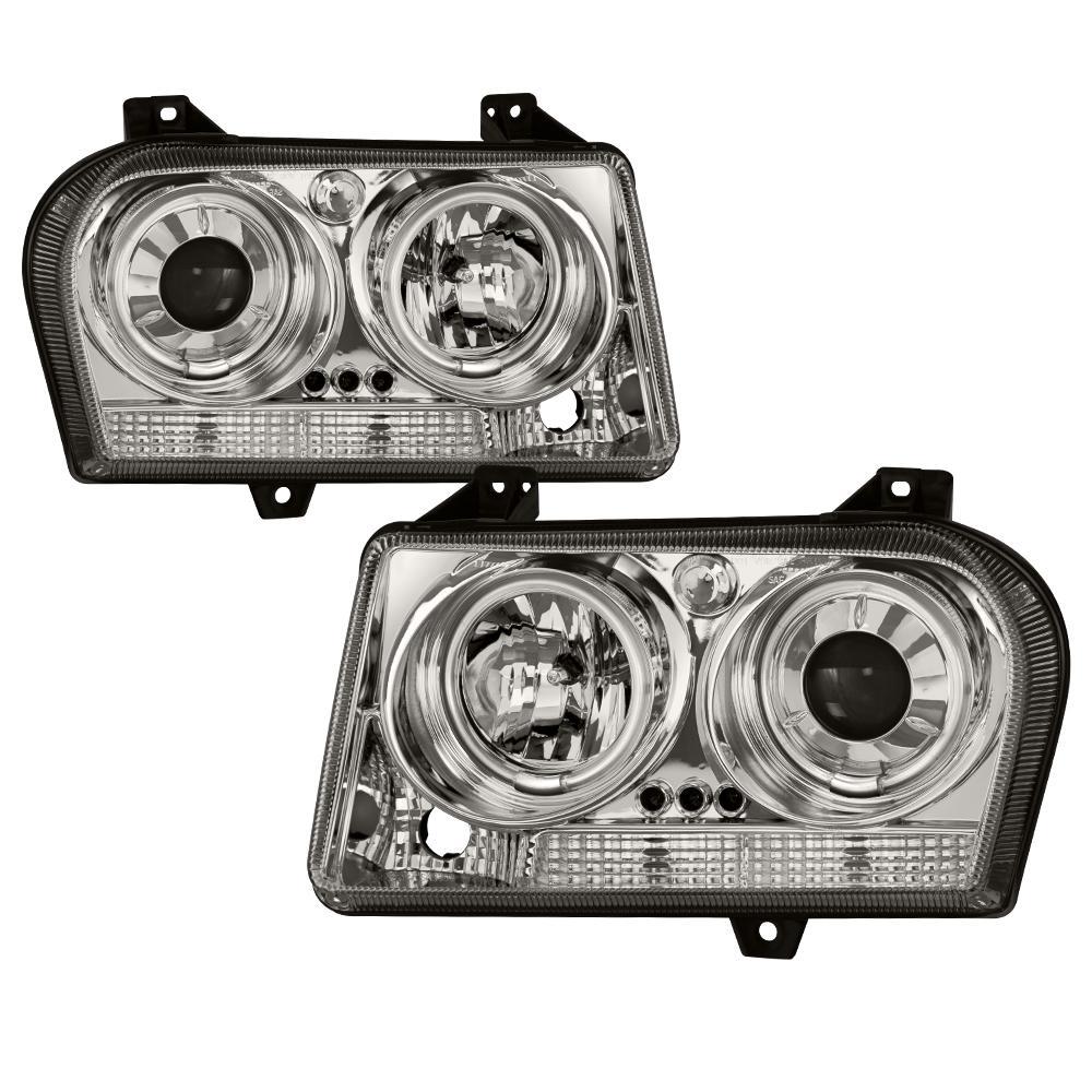 Spyder Auto Chrysler 300 05 08 Projector Headlights Ccfl Halo Led Replaceable Leds Chrome