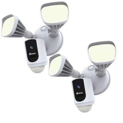Outdoor Wi-Fi Cam with Motion Activated Floodlight, White (2-Pack)