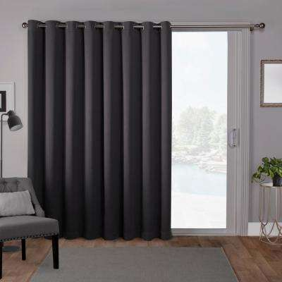 Sateen Patio 100 in. W x 84 in. L Woven Blackout Grommet Top Curtain Panel in Charcoal (1 Panel)
