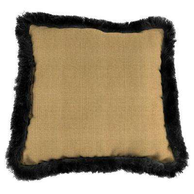 Sunbrella Linen Straw Square Outdoor Throw Pillow with Black Fringe