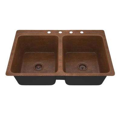 Shore Undermount Handmade Copper 34 in. 4-Hole 50/50 Double Bowl Kitchen Sink in Hammered Antique Copper