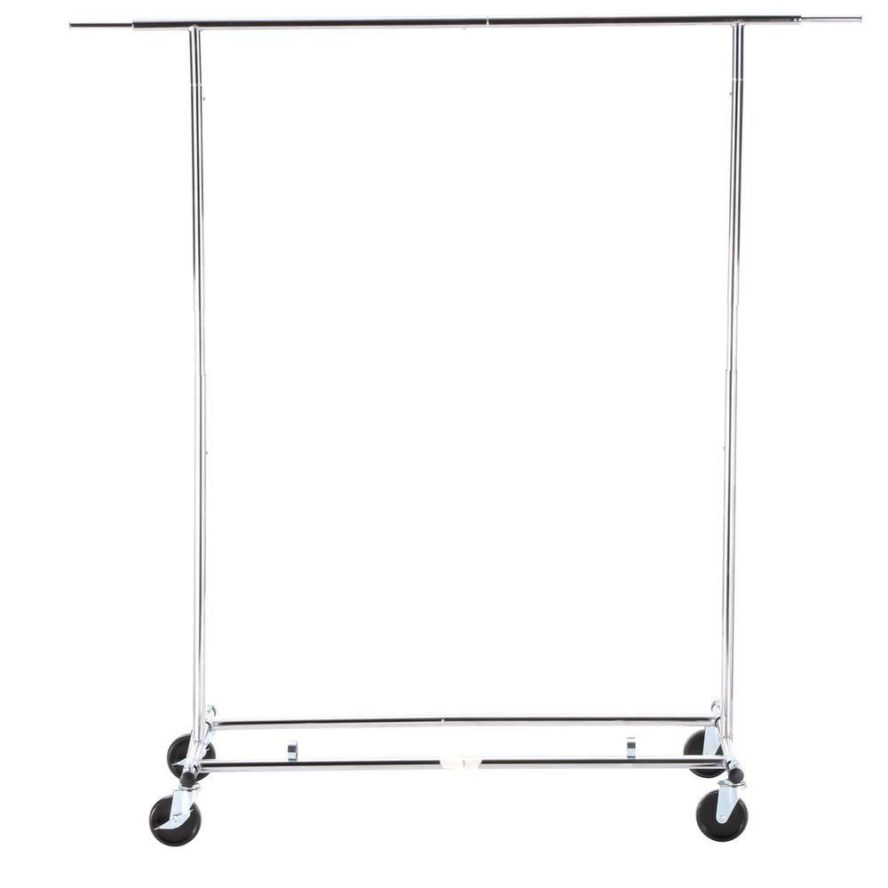 Honey Can Do Collapsible Steel Rolling Garment Rack In Chrome