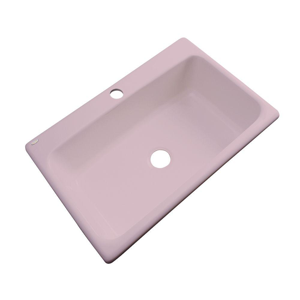 Manhattan Drop-In Acrylic 33 in. 1-Hole Single Bowl Kitchen Sink in