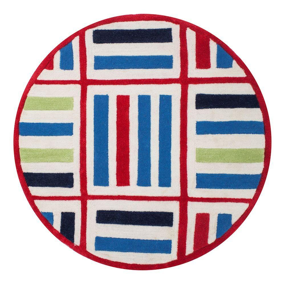Kas Rugs Cross Lines Blue/Red 3 ft. x 3 ft. Round Area Rug