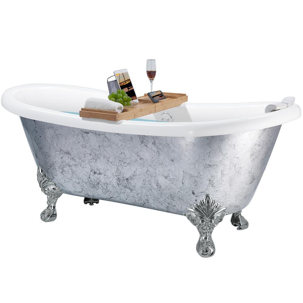 AKDY 69 in. Clawfoot Bathtub Fiberglass Bathtub - Modern Flat Bottom Stand Alone Tub - Luxurious SPA Tub in Silver, Gloss Finish silver foil was $1899.99 now $999.99 (47.0% off)
