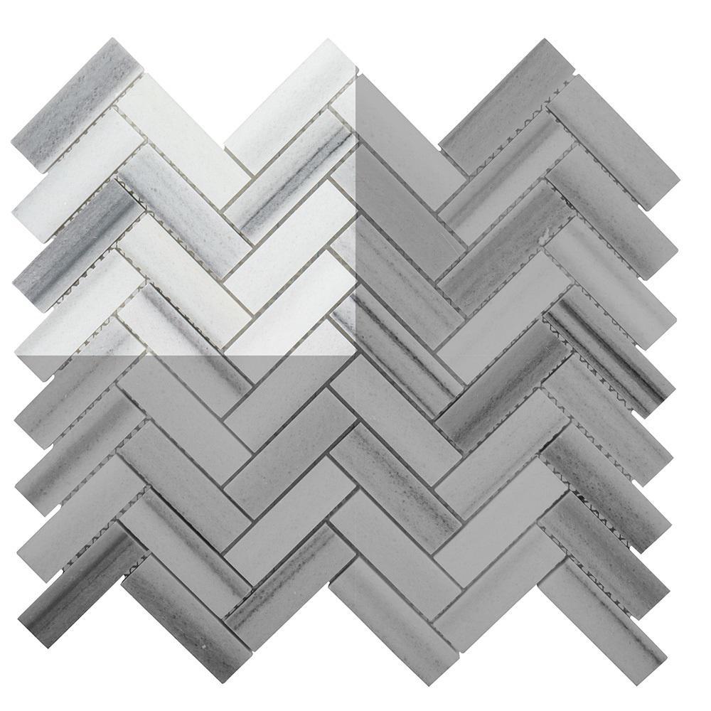 Zebra Plains 3 in. x 6 in. x 10 mm Marble Mosaic Tile Sample