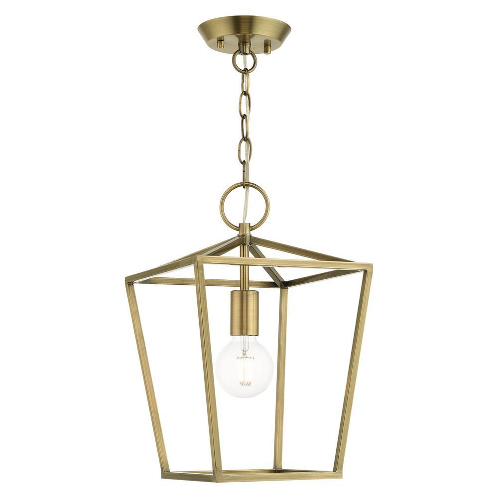 Devonshire 1 Light Antique Brass Convertible Semi Flush/Lantern