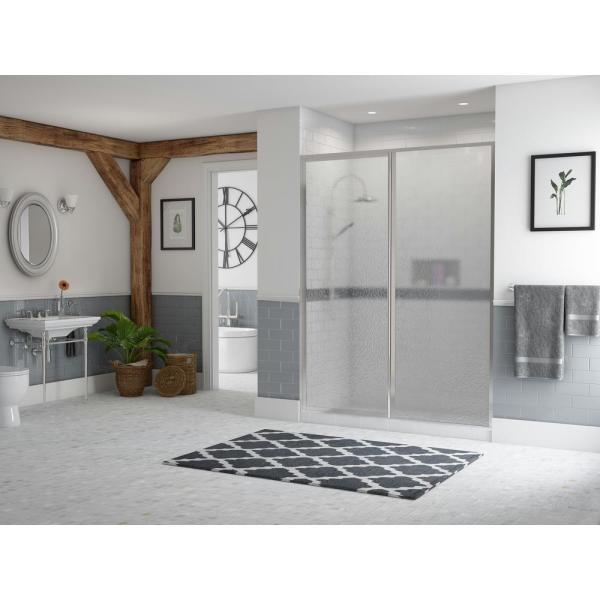 Legend 59.5 in. to 61 in. x 66 in. Framed Hinge Swing Shower Door with Inline Panel in Chrome with Obscure Glass