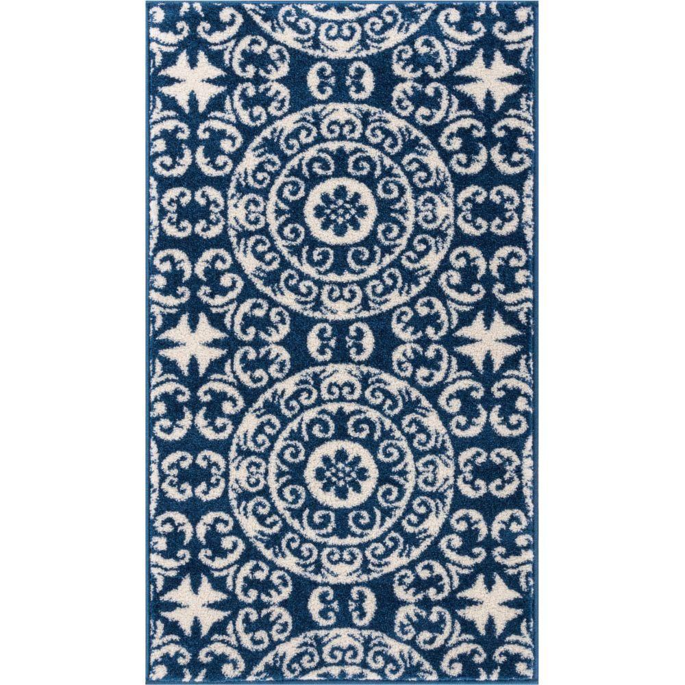 Well Woven Sydney Petra Palatial Moroccan Tile Navy Blue 2 Ft X 4