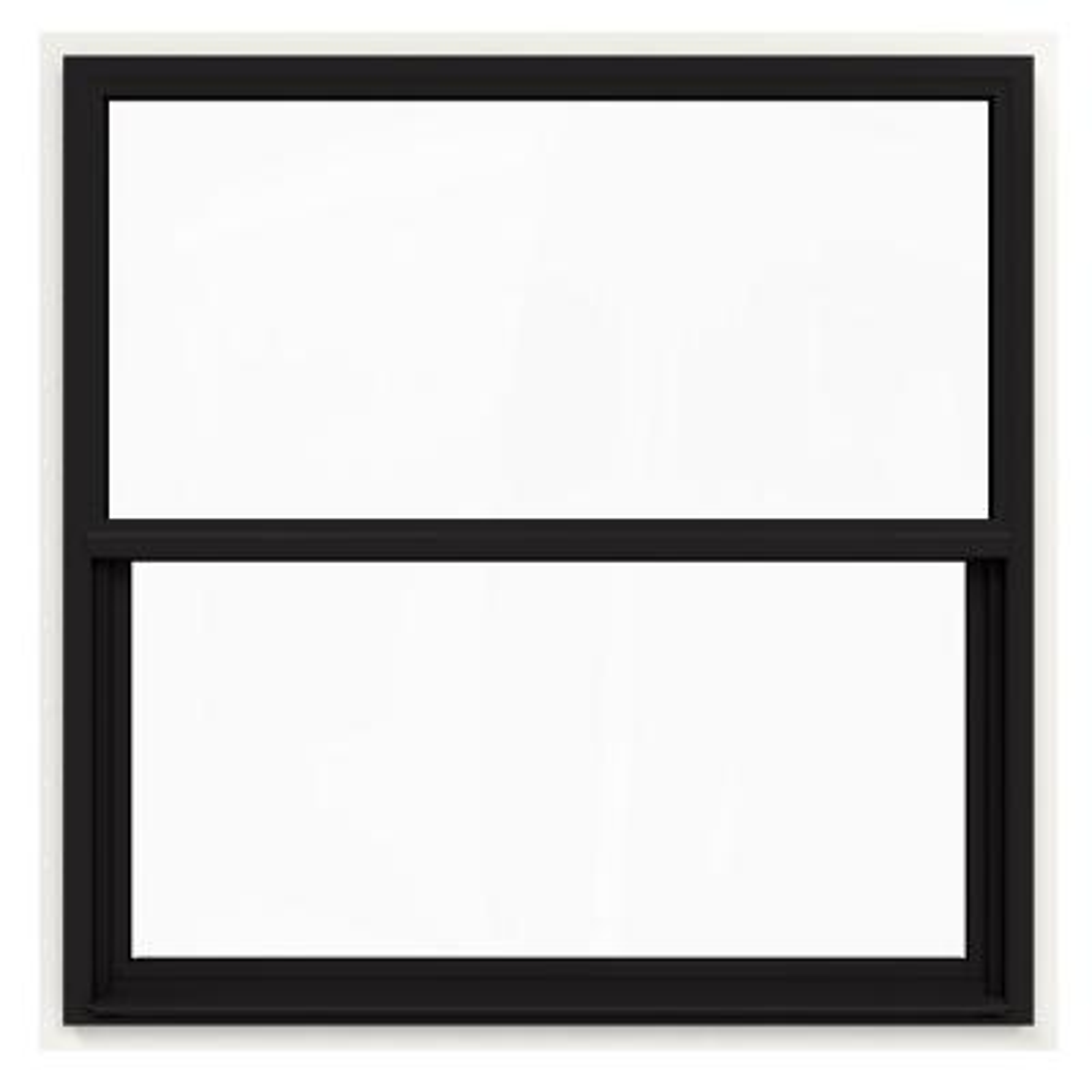 JELD-WEN 48 in. x 48 in. V-4500 Series Black FiniShield Single-Hung Vinyl Window with Fiberglass Mesh Screen