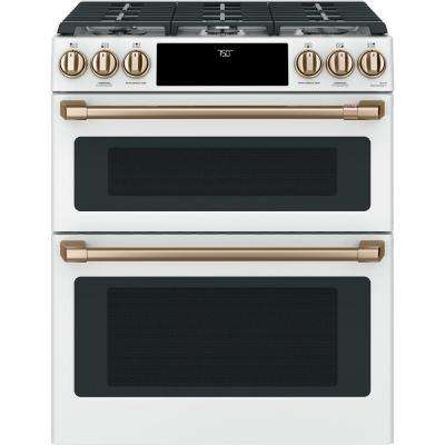 30 in. 6.7 cu. ft. Slide-In Double Oven Gas Range with Self-Cleaning Convection in Matte White, Fingerprint Resistant