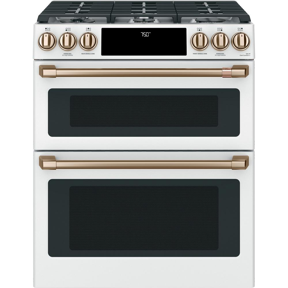 Cafe 30 in. 6.7 cu. ft. Slide-In Double Oven Gas Range with Self-Cleaning Convection in Matte White, Fingerprint Resistant