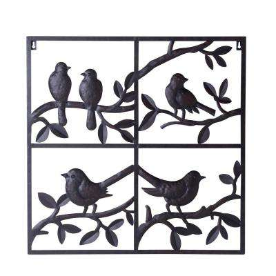 Frances Copper Colored Designed with Birds on Branches Wall Decor with Screw-Hangers