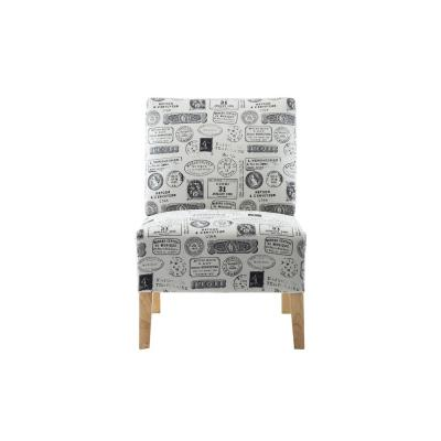 White Letter Fabric Armless Accent Chair with Natural Wood Legs